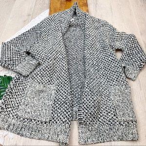J Jill Black White Knit Safety Pin Cardigan XL